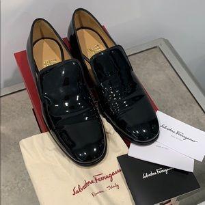 Salvatore Ferragamo Black Parent Leather Loafers
